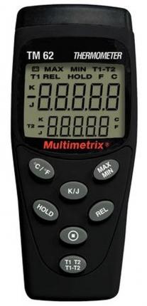 ترمومتر تماسی RTD K و J دو کانال مولتی متریکس MULTIMETRIX TM 62